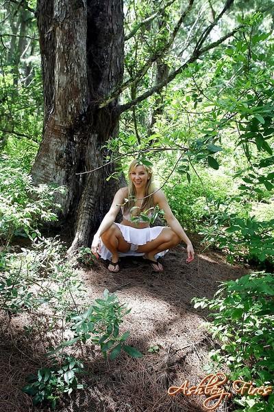 Beautiful blonde first timer Ashley Fires flashing upskirt panties in woods