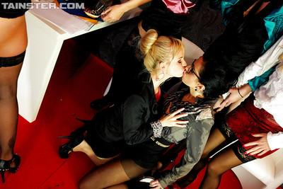 Naughty piss sluts on high heels make some fervent lesbian orgy