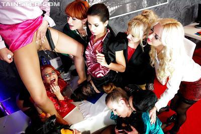 Naughty piss sluts on high heels make some fervent lesbian orgy