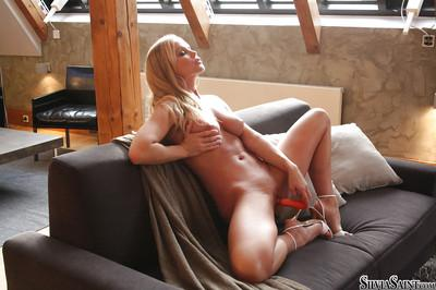 Adorable babe on high heels Silvia Saint stripping and toying her slit