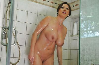 Curvy MILF Kianna Dior taking a shower and masturbating her slit