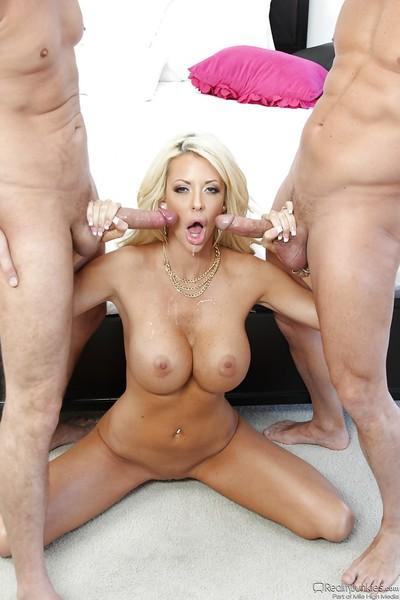 Big boobed blonde MILF Courtney Taylor taking hardcore DP with ATM finish