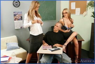 Two blond MILF teachers Brooke Banner and Julia Ann fucking a student