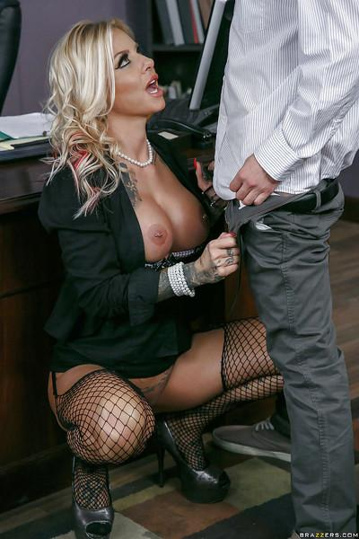 Chesty blonde boss Britney Shannon fucks her male employee at work