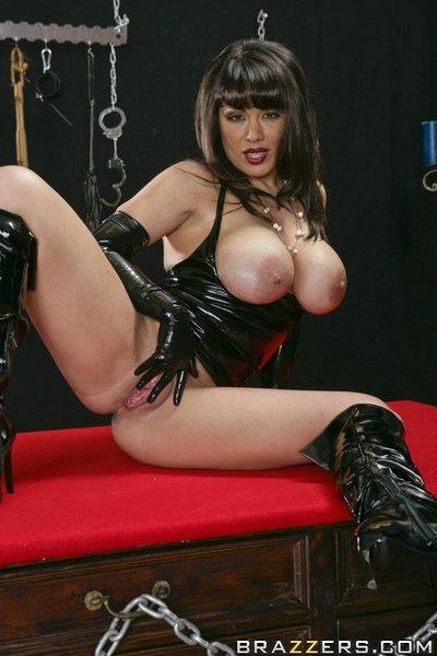 Horny MILF Sienna West in the latex dress plays fetish games