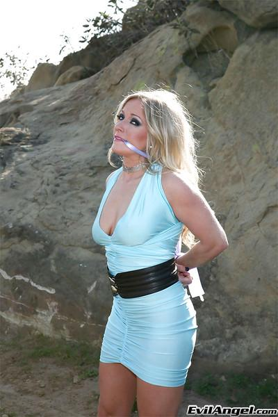 Bound MILF on high heels Dia Zerva exposing her tits and pussy outdoor