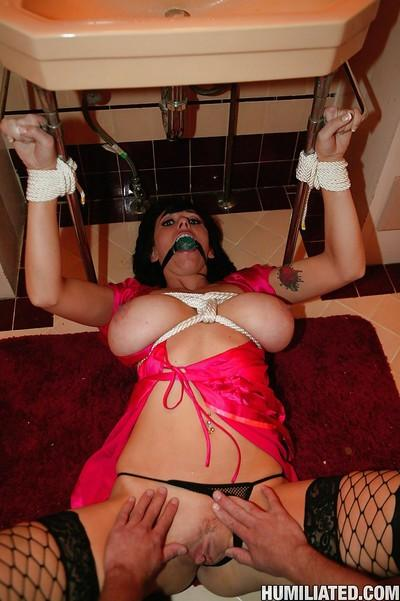MILF babe Alia Janine gets tied in the bathroom for hardcore BDSM fuck