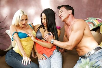 Ravishing blonde and brunette sluts sharing a stiff meaty dick and a cumshot