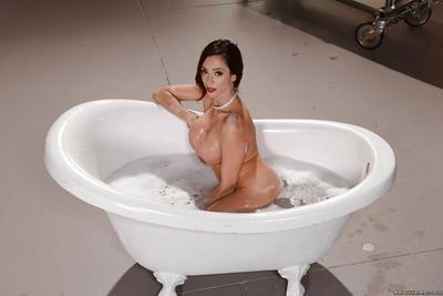 Top heavy MILF Ariella Ferrera and her big knockers taking bubble bath