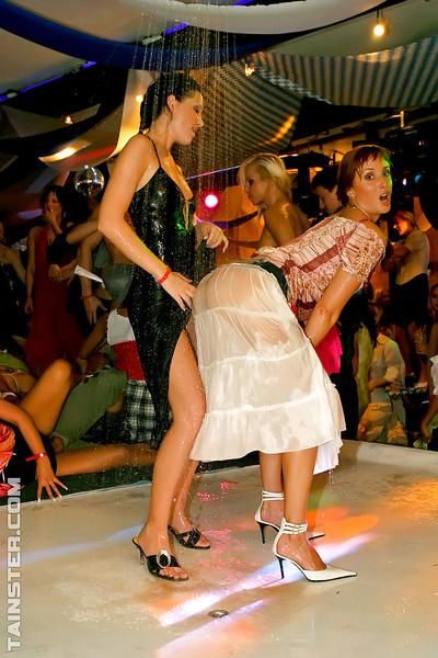 Wooing european MILFs enjoy a wild sex orgy at the night club party