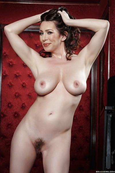 Hot brunette mom RayVeness undresses to reveal hairy MILF vagina