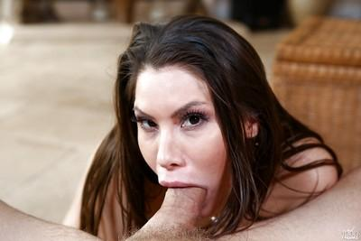 Hot Latina MILF Aleksa Nicole taking cumshot on face after giving head