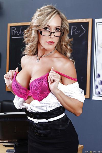 Voluptuous teacher Brandi Love strips down in the classroom