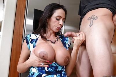 Terrific big-breasted milf Ariella Ferrera seduces young guy