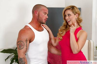 Blonde cougar Cherie DeVill seduces a younger man