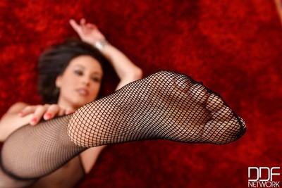 Foot fetish undressing session with an hot milf babe in pantyhose Lorena