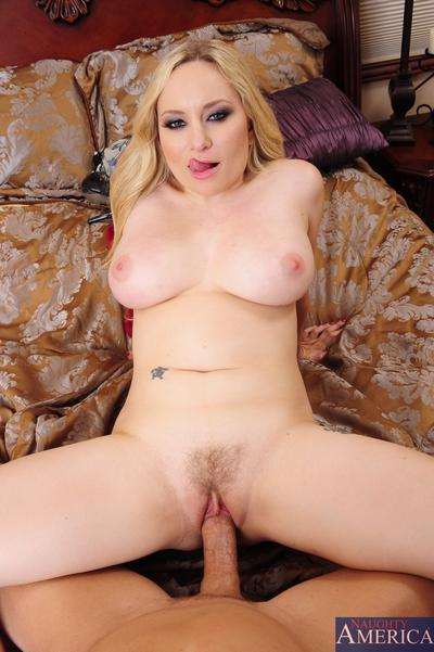 Aiden Starr gets her trimmed cunt shafted hard and takes cum on her face
