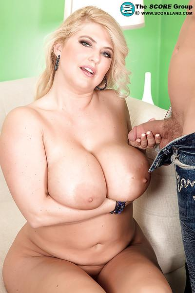 Blonde MILF Kelly Christiansen seducing young boy with her big tits
