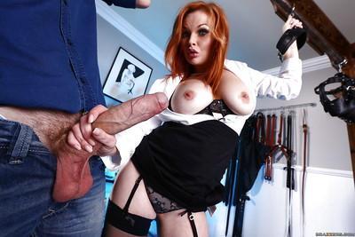 Stunning redhead beauty Tarra White is sucking gigantic rod!