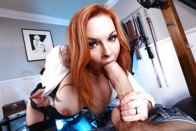 Stunning redhead beauty Tarra White is sucking gigantic rod!