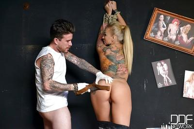 Inked Euro fetish enthusiast Kayla Green spanked on bare ass before anal