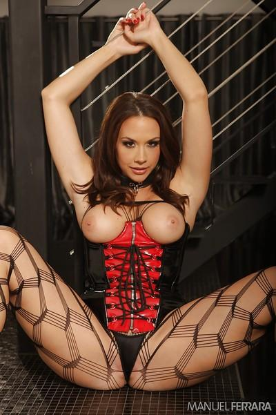 Busty pornstar Chanel Preston poses in very alluring lingerie