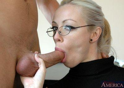 Busty MILF teacher in glasses Adrianna Nicole got her pussy stuffed