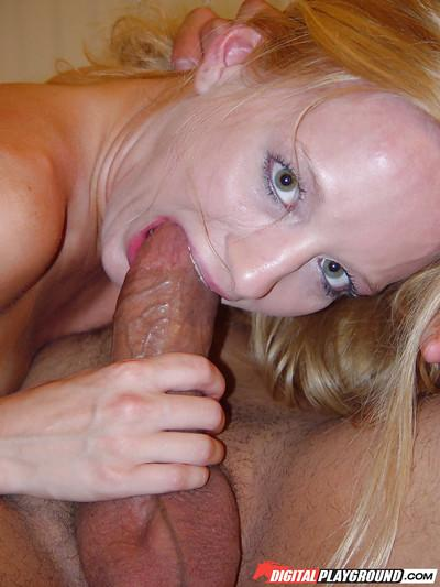 MILF Nicole wrapping pink tongue around a fat cock in sexy close ups