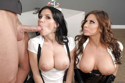 Rebeca Linares & Madison Ivy take turns sucking and fucking a big cock