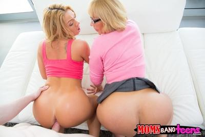 Sweet blonde babes win glasses are fucked in their pussies and mouths