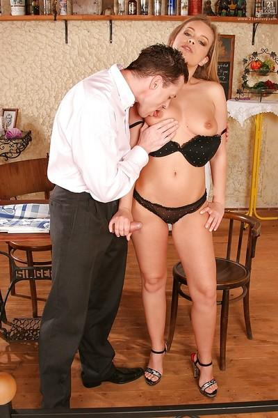 Young blonde housewife Colette W giving her husband a blowjob