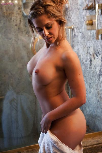 Hot blonde mom Cherie DeVille exposing nice side boobage in shower