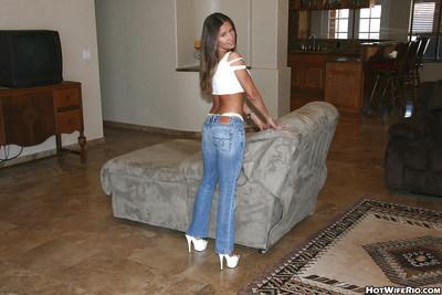 Lusty latina MILF Wife Rio stripping and fucking two hard cocks