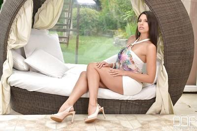 Tall brunette babe Zafira flaunting perfect all natural breasts
