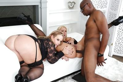 Chunky blondes Naughty Alysha and Dee Siren getting ass fucked by BBC