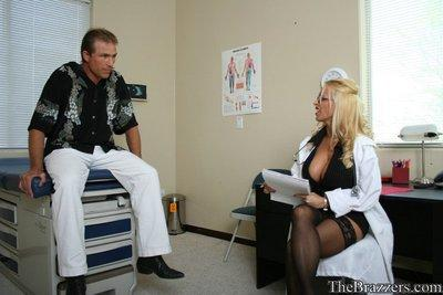 Busty doctor Holly Halston jumps on her patient