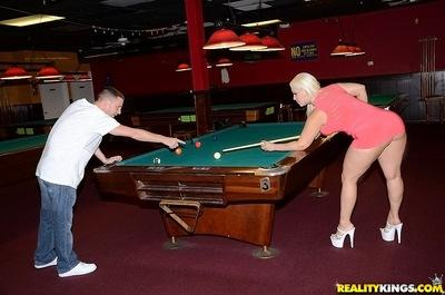 Curvy slut gets nailed on a pool table and jizzed over her big jugs