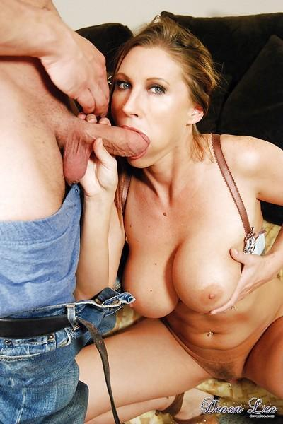Busty blonde mom Devon Lee having shaved and pierced cunt ate out