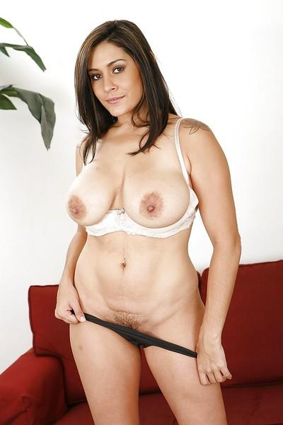 Steamy latina MILF revealing her big jugs and ample booty