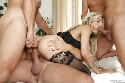 Beautiful blonde Klarisa Leone fucks in a hardcore gangbang