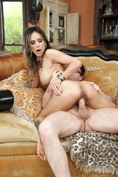 Busty Latina MILF Nadia Styles taking thick cock inside bald vagina