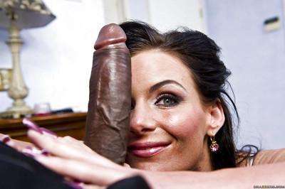 Naughty brunette milf Phoenix Marie got huge black dick in the mouth