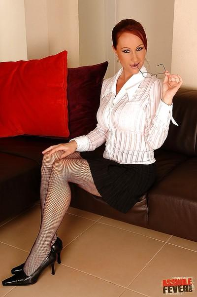 MILF secretary in glasses and stockings Katy Parker got her butt fucked