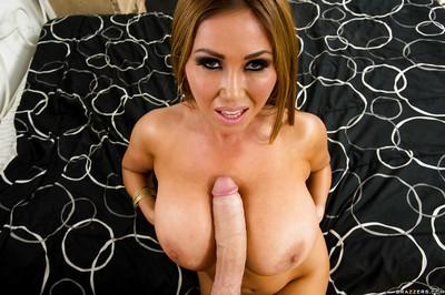 Huge tits asian milf Kianna giving a wet blowjob and eats cumshot
