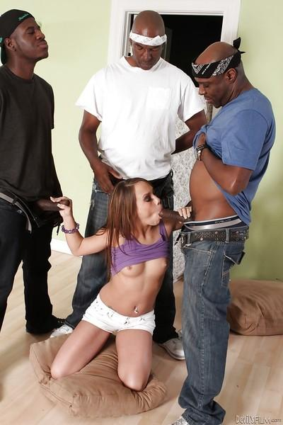Interracial gangbang sex with a hardcore brunette Haley Sweet