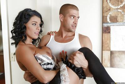 Busty Latina maid Peta Jensen takes big cock and cumshot in mouth