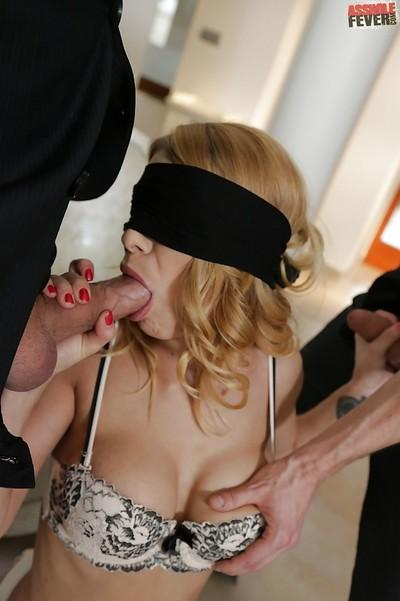 Euro MILF Niky Gold has a blindfold fetish she shares with two studs