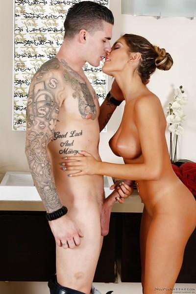 Beautiful milf August Ames is staying on her knees and swallowing