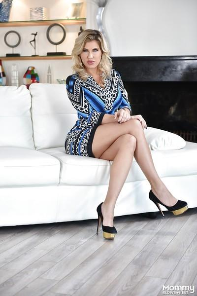 Blonde babe Savana Styles unleashing large MILF tits in high heels