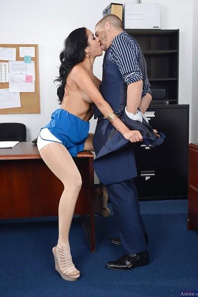 Office secretary Abby Lee Brazil is swallowing tasty white juice